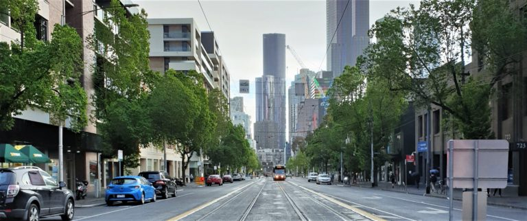 Empty Melbourne streets seen during the COVID-19 pandemic